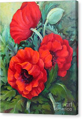 Canvas Print featuring the painting Poppy Family 1 by Marta Styk