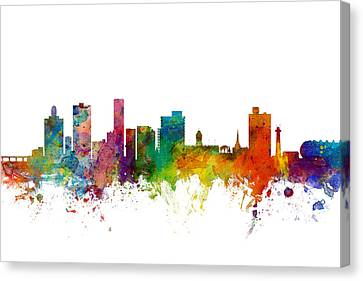 Port Elizabeth South Africa Skyline Canvas Print by Michael Tompsett