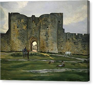 Porte De La Reine At Aigues-mortes Canvas Print by Frederic Bazille