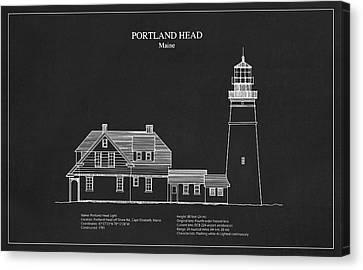 Portland Head Lighthouse - Maine - Blueprint Drawing Canvas Print by Jose Elias - Sofia Pereira