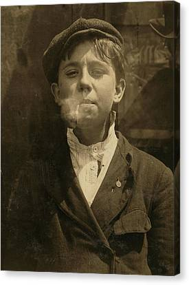 Portrait Of A Boy Smoking A Pipe Canvas Print by Everett