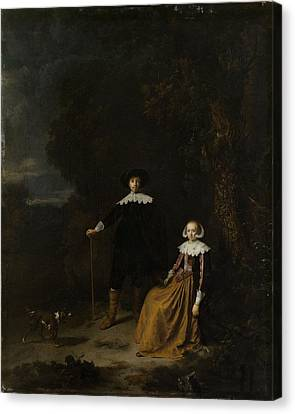 Portrait Of A Couple In A Landscape Canvas Print by Gerard Dou