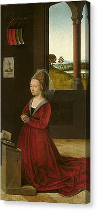 Portrait Of A Female Donor Canvas Print by Petrus Christus