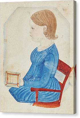 Portrait Of A Girl In A Blue Dress Canvas Print by Justus Dalee