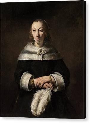 Ostrich Fan Canvas Print - Portrait Of A Lady With An Ostrich-feather Fan by Rembrandt van Rijn