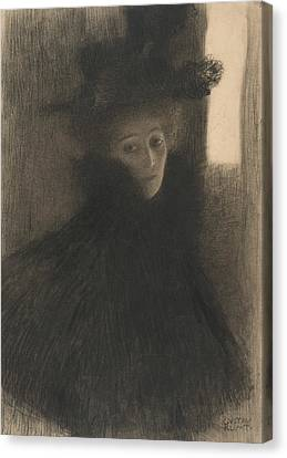 Portrait Of A Lady With Cape And Hat  Canvas Print by Gustav Klimt