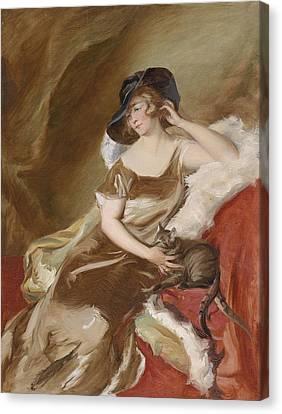 Portrait Of A Lady With Cat Canvas Print by Adolf Pirsch