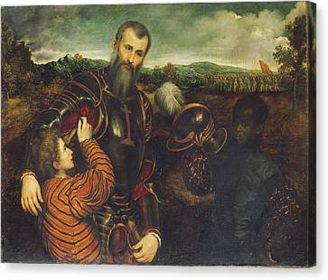 Portrait Of A Man In Armor With Two Pages Canvas Print