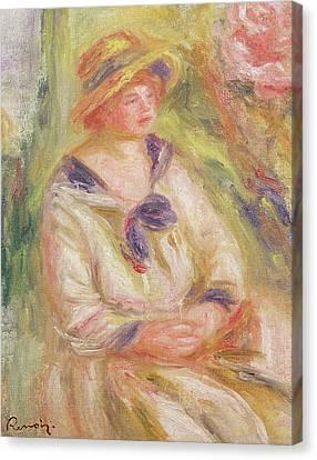 Portrait Of A Woman  Canvas Print by Pierre Auguste Renoir