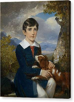 Portrait Of A Young Boy With A Spaniel Canvas Print by Johann Nepomuk