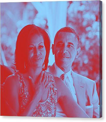 Michelle Obama Canvas Print - Portrait Of Barack And Michelle Obama by Asar Studios