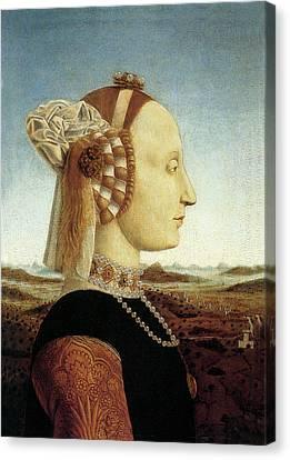 Portrait Of Battista Sforza Canvas Print