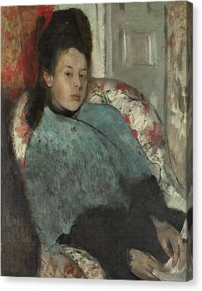 Portrait Of Elena Carafa Canvas Print by Edgar Degas
