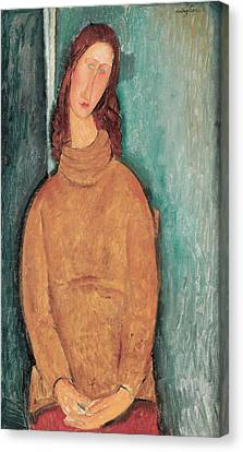 Portrait Of Jeanne Hebuterne Canvas Print by Amedeo Modigliani