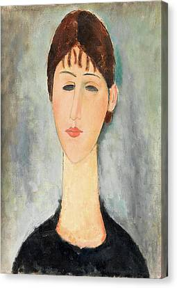 Portrait Of Mme Zborowska Canvas Print by Amedeo Modigliani