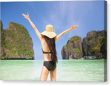 Portrait Of Woman In Black Swim Posing On Tropical Beach Canvas Print