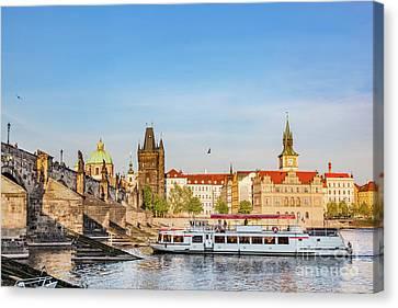 Prague, Czech Republic. Charles Bridge, Boat Cruise On Vltava River Canvas Print by Michal Bednarek