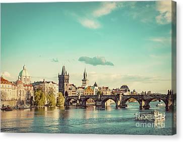 Prague, Czech Republic Skyline With Historic Charles Bridge And Vltava River. Vintage Canvas Print by Michal Bednarek