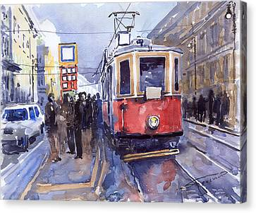 Old Canvas Print - Prague Old Tram 03 by Yuriy  Shevchuk