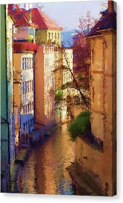 Praha Canal Canvas Print by Shawn Wallwork