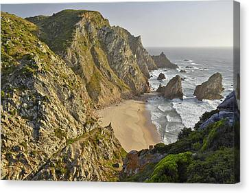 Canvas Print featuring the photograph Praia Da Ursa Portugal  by Marek Stepan