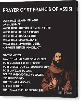 Prayer Of St Francis Assisi Canvas Print by Celestial Images