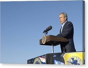 President George W. Bush Speaking Canvas Print by Everett