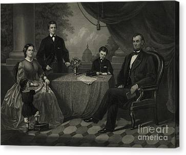 President Lincoln With His Family Canvas Print by Science Source