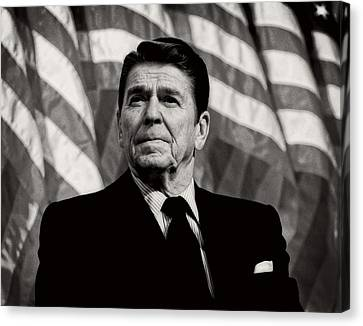 President Ronald Reagan Speaking - 1982 Canvas Print by Mountain Dreams