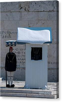 Presidential Guard With Snow Canvas Print by George Atsametakis