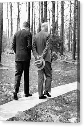 Presidents Dwight Eisenhower And John Canvas Print by Everett