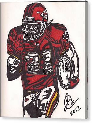 Canvas Print featuring the drawing Priest Holmes 2 by Jeremiah Colley