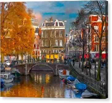 Canvas Print featuring the photograph Prinsengracht 807. Amsterdam by Juan Carlos Ferro Duque