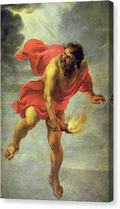 Prometheus Carrying Fire Canvas Print by Jan Cossiers