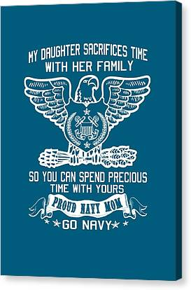 Proud Navy Mom Canvas Print by Sophia