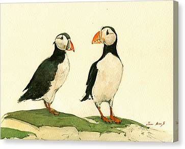 Sea Birds Canvas Print - Puffins  by Juan  Bosco