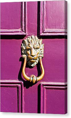 Medieval Entrance Canvas Print - Purple Door by Tom Gowanlock