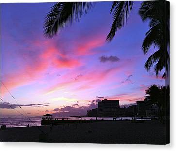 Purple Ocean Sunset Canvas Print by Erika Swartzkopf