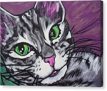 Canvas Print featuring the painting Purple Tabby by Sarah Crumpler