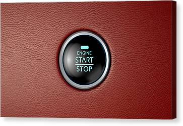 Push To Start Red Leather Button Canvas Print by Allan Swart