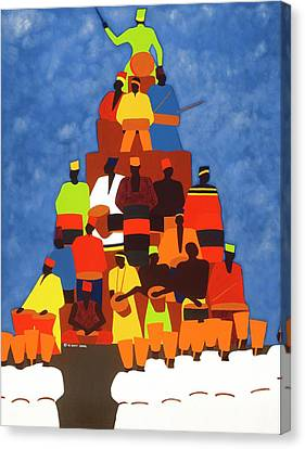 Pyramid Of African Drummers Canvas Print by Synthia SAINT JAMES