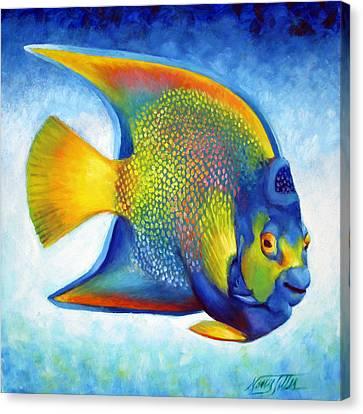 Queen Angelfish Canvas Print by Nancy Tilles