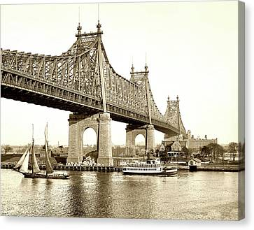 Queensboro Bridge - 1910 Canvas Print by L O C