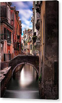 Historic Architecture Canvas Print - Quiet Canal In Venice by Andrew Soundarajan