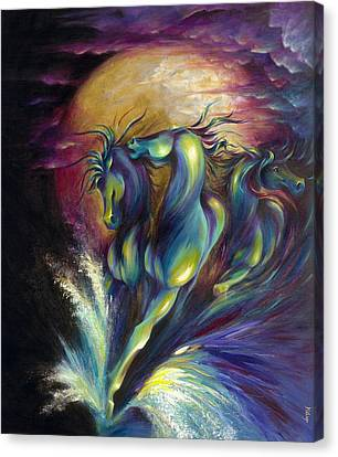 Canvas Print featuring the painting Racing The Moon by Dina Dargo