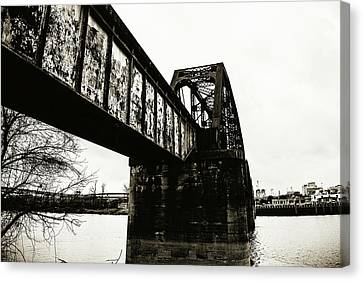 Railroad Over The Red River - Sepia Toned Canvas Print