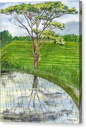 Canvas Print featuring the painting Rain Tree On The Way To Ubud Bali Indonesia by Melly Terpening