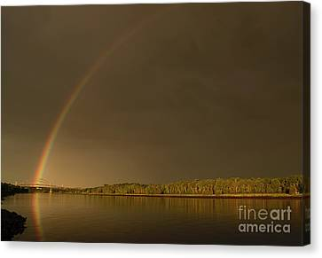 Rainbow Over Sagamore Bridge, Cape Cod Canvas Print by Michelle Himes