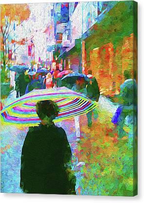 Rain Canvas Print - Rainy Morning On 34th Street by Jon Woodhams