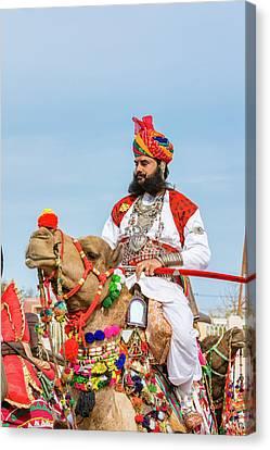 Asia Canvas Print - Rajasthani Camel Rider With Sword by Nila Newsom